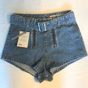 ASOS Denim Double Zipper, Belted Shorts Size 4